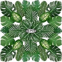 Hojas de Palma Artificiales, PietyPet 68 Piezas 8 tipos Flores de Simulación Verde Plantas Artificiales, Falso Hojas de Monstera con tallos para Luau, Fiestas Decoraciones Eventos, Bodas, Hawaiano