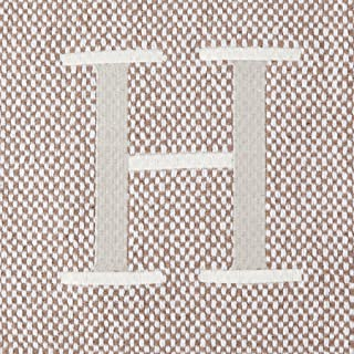 Mud Pie Woven Cotton Initial H Throw Blanket, Taupe