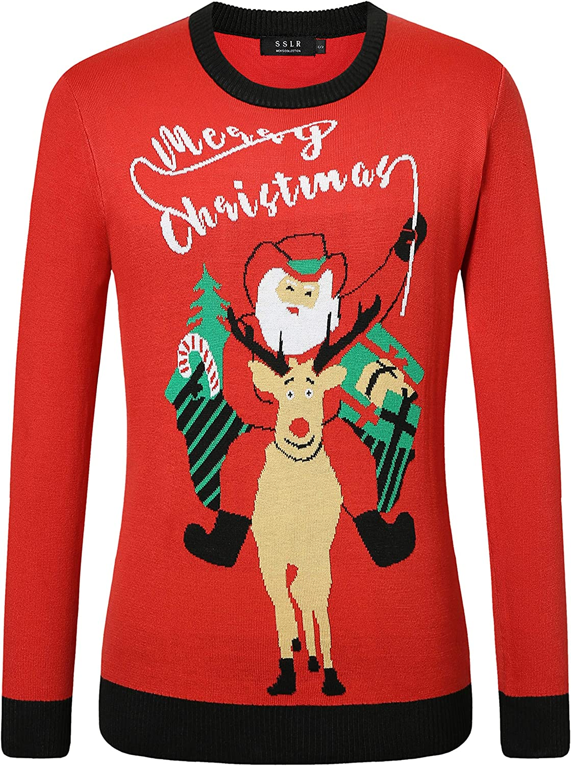 SSLR Mens Ugly Christmas Sweater Holiday Crew Neck Pullover Sweater for Men