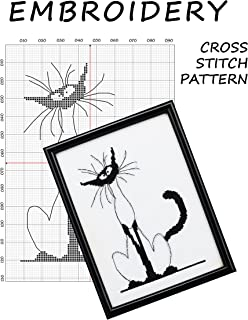 Monochrome canvas Cat cross stitch pattern Funny embroidery home wall art, Black and white silhouette needlework modern xstitch Siamese black cats patterns Needlepoint for beginners Point de croix