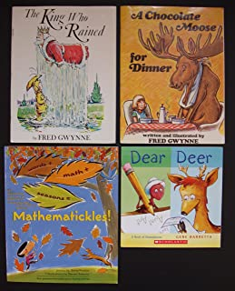 Homonyms and Word Math: Set of 4 Funny Books (The King Who Rained ~ A Chocolate Moose for Dinner ~ Dear Deer ~ Mathematickles!)