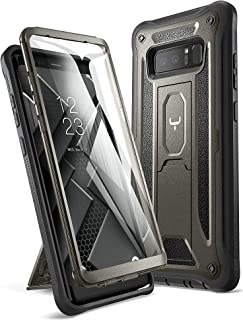 YOUMAKER Kickstand Case for Galaxy Note 8, Full Body with Built-in Screen Protector Heavy Duty Protection Shockproof Rugged Cover for Samsung Galaxy Note 8 (2017) 6.3 Inch - Gun Metal/Black