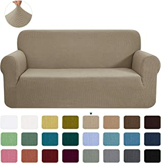 CHUN YI Stretch Loveseat Sofa Slipcover 1-Piece Couch Cover Furniture Protector,2 Seater Settee Coat Soft With Elastic Bottom,Checks Spandex Jacquard Fabric, Medium, Sand