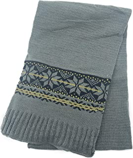 Sonemone Men's Winter Warm Jaquard Snow Flake Pattern Scarf Grey