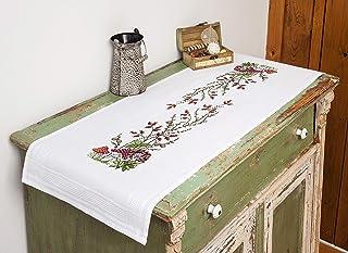 Kamaca Stickpackung Tischdecke FLIEGENPILZ Kreuzstich vorgezeichnet aus Baumwolle Stickset mit Stickvorlage Tischläufer 40x100 cm