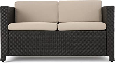 Christopher Knight Home Puerta Outdoor Wicker Loveseat with Cushions, Dark Brown / Beige Cushions