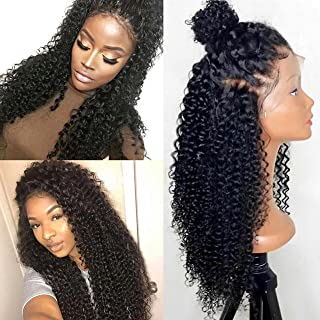 250% Density 360 Lace Frontal Wigs For Black Women Brazilian Curly Pre Plucked 360 Lace Wig Glueless Human Hair Wigs With Baby Hair (18 inch with 250 density,Curly)