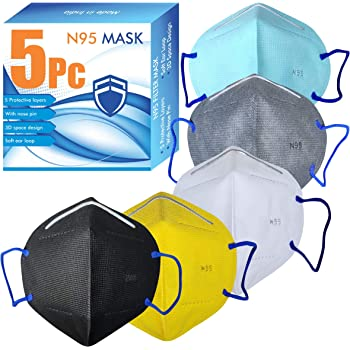 VeBNoR N95 Mask Washable And Reusable WHO-GMP Certified to Protect Mouth droplets, Dust and Pollution Multicolor Pack of 5 mask