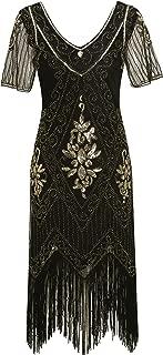 Women's Roaring 1920s Gatsby Dresses Short Sleeve Dress Cocktail Flapper Dress