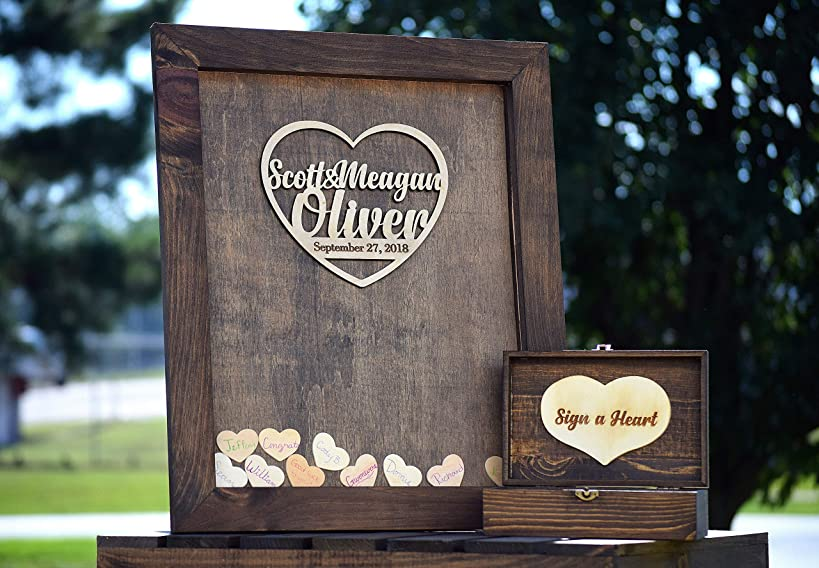 Heart Drop Guest Book Wood Frame - Alternative Guest Book - Wedding Drop Box - Wooden Guest Book - Guestbook Ideas - Heart Drop Guest Book - Drop Box