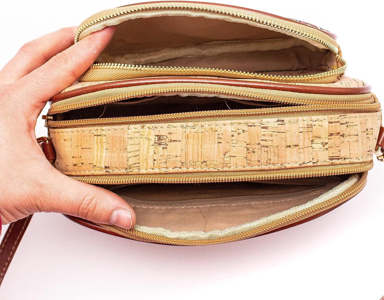 Natural Cork Compact Double-Zipper Sling Bag