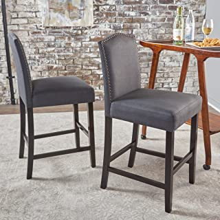 Christopher Knight Home Markson (Set Of 2) Fabric Counter stools, Dark Charcoal