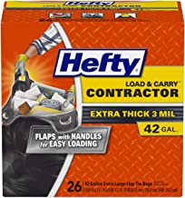 Hefty Load and Carry Contractor Heavy Duty Trash/Garbage Bags, 42 Gallon, 26 Count