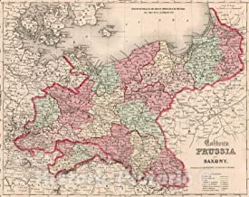 Historic Pictoric Map : Prussia and Saxony, 1861, Vintage Wall Decor : 56in x 44in