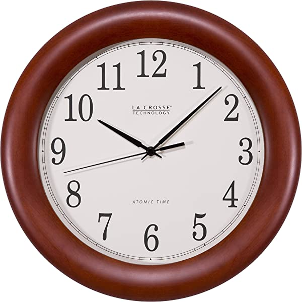 La Crosse Technology WT 3122A 12 5 Inch Cherry Wood Atomic Analog Clock 12 5 Walnut