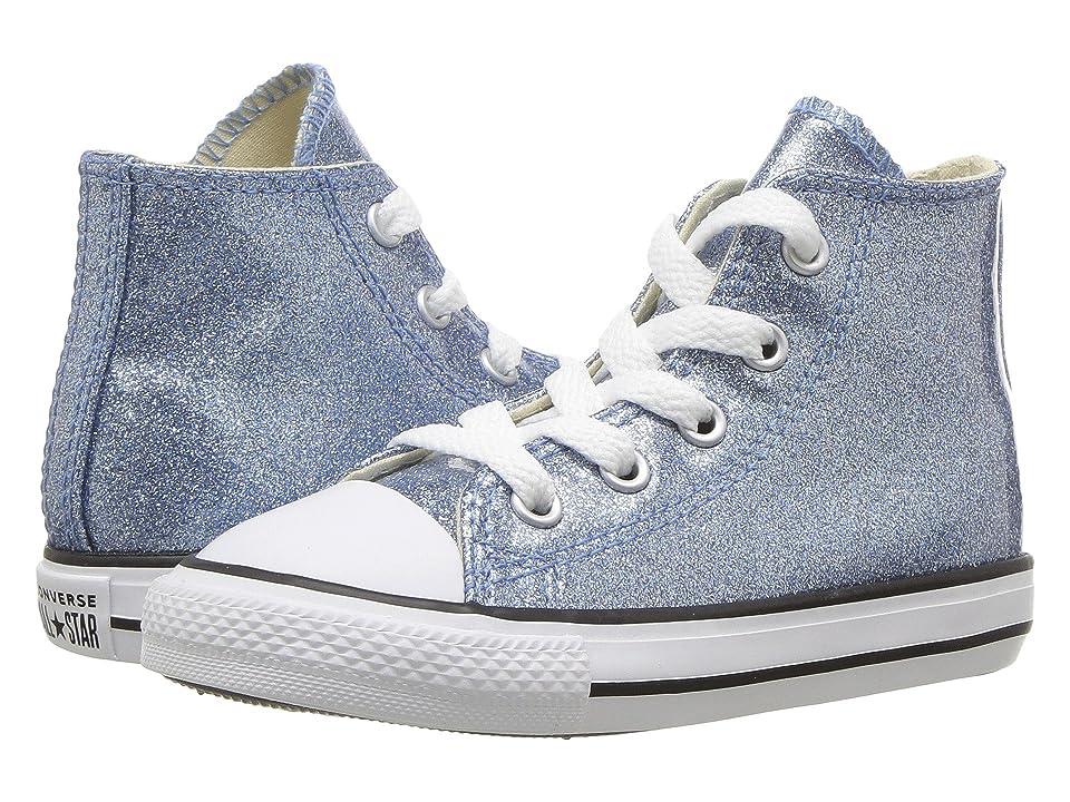 Converse Kids Chuck Taylor(r) All Star(r) Glitter Hi (Infant/Toddler) (Light Blue/Natural/White) Girl