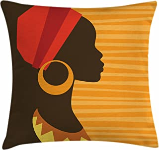 Ambesonne African Throw Pillow Cushion Cover, Girl Profile Silhouette with Earrings Feminine Grace Image, Decorative Square Accent Pillow Case, 16