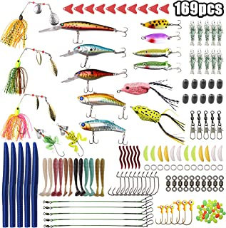 Fishing Lures Baits Tackle - 169 Pcs Mixed Kits Including Spinnerbaits, Fishing Worms, Minnow Hard Swimbait, Crankbaits,Topwater Frog, Rooster Tail,Jigs, Fishing Hooks