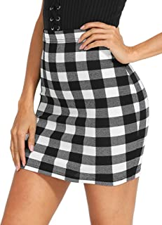 43afea9e8 Floerns Women's Bodycon Mini Skirt Elastic Waist Plaid Stretchy Skirt
