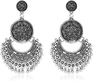 Hanloud Leaf Tassel Dangle Earring Turquoise Drop Hook Earrings Traditional Indian Jewelry