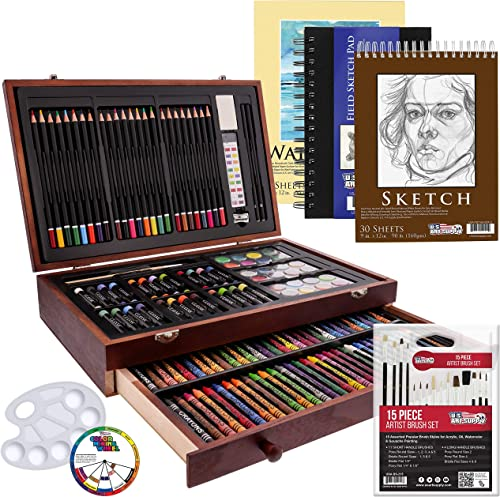 US Art Supply 162 Piece-Deluxe Mega Wood Box Art, Painting & Drawing Set that contains all the additional supplies yo...