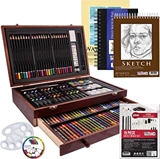 US Art Supply 162 Piece-Deluxe Mega Wood Box Art Painting & Drawing Set that contains all the additional supplies you need...