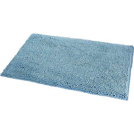 Amazon Basics - Alfombrilla de baño, antideslizante, de microfibra, 0,53 x 0,86 m, Azul lago
