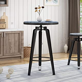 Christopher Knight Home Clem Swiveling Iron Bar Table with Firwood Seat, Black and Brushed Dark Gray