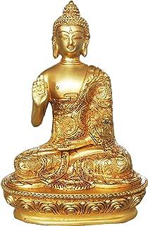 Brass Gift Center Brass Buddha Statue Finish Decorative Showpiece - 18 cm