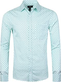 NUTEXROL Men's Casual Cotton Polka Dots Long Sleeve Dress Shirts