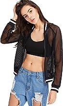 SweatyRocks Women's Summer Zip Up Light Weight Long Sleeve Mesh Bomber Jacket