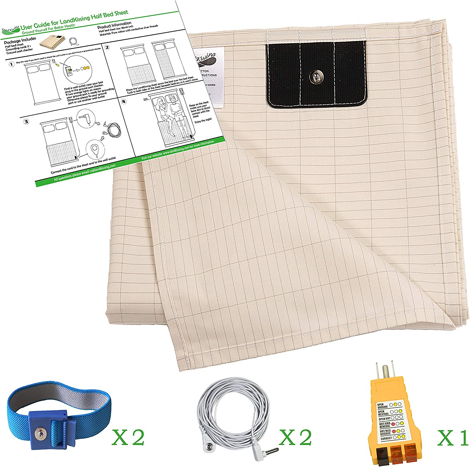 LandKissing Grounding Half Bed Sheet (Size 98 x39 ) Beige for Healthy Earthing Energy with 1 Ground Checker 2 Straight Cords and 2 Grounding Bracelets Fits Full Queen and King Size