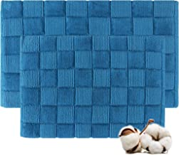 Cotton Bath Rugs Water Absorbent Check Design Bathmat Set of 2 (Size 17x24/17x24 Color Teal)