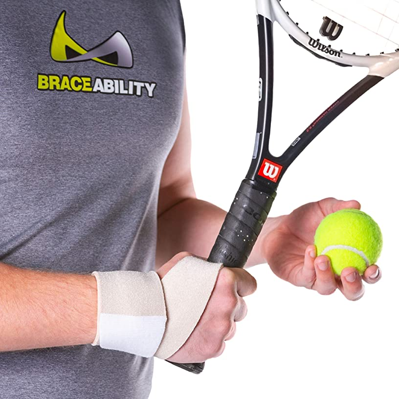 BraceAbility Athletic Wrist Wrap   Yoga, Golf, Tennis & Gymnastics Exercise Support Guard for Working Out, Crossfit, Pilates, TRX, Sports Pain Protection Brace (Universal - Fits Right and Left Hand)