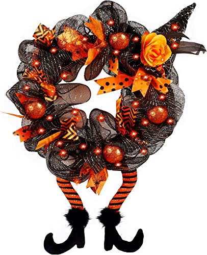 wholesale yosager Halloween Wreaths, Halloween Decorations Witch Hat lowest and Legs online sale Wreath, Lighted with 30 LED Orange Lights, Front Door Wall Light up Wreath Ornaments Holiday Party Thanksgiving Decor online