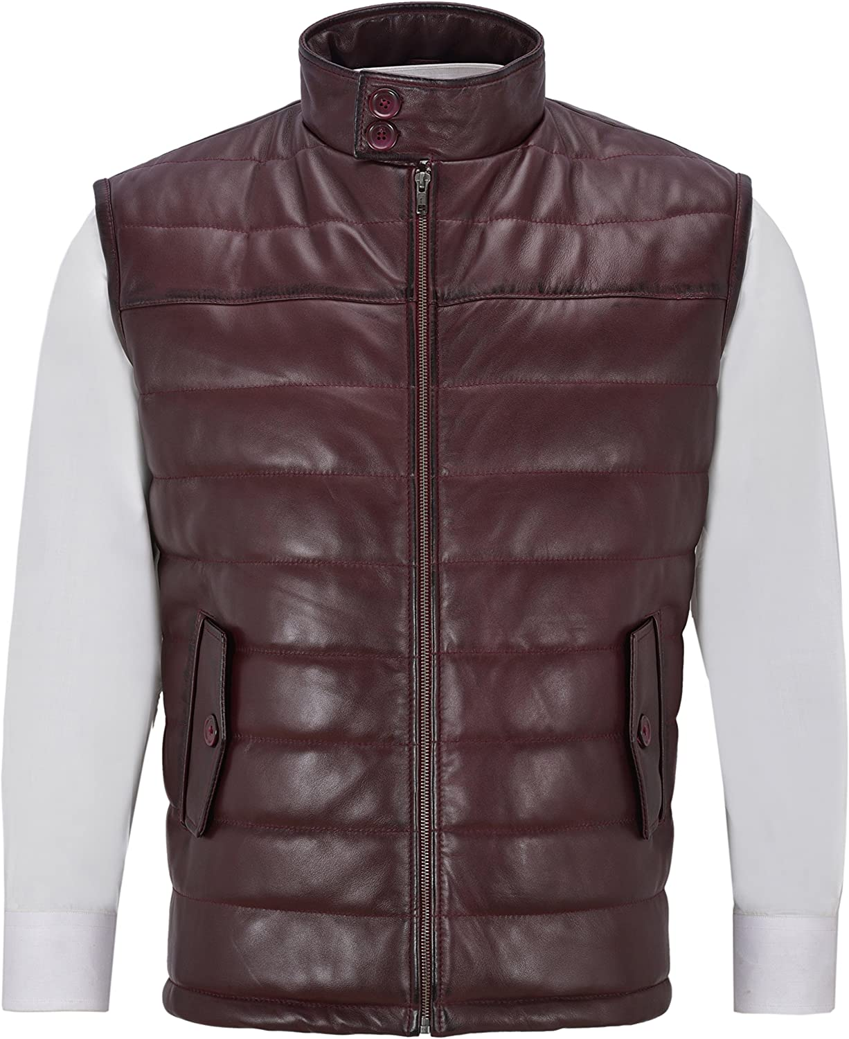 Men's Slim Fit Cherry Burgundy Red Gilet Vest Stand Up Collar Quilted Waistcoat Soft Lamb Leather 4330