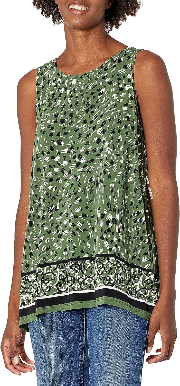 Kasper Women's Knit Sharkbite Top with Contrasting Print on Hem Border