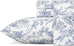 Tommy Bahama Pen and Ink Palm Pillowcases, Standard, Indigo