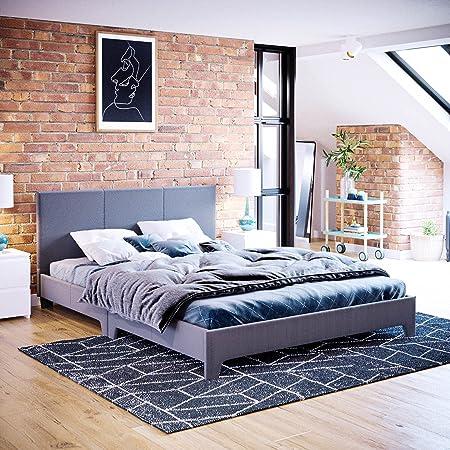 Home Discount Vida Designs – Cadre de lit Double Victoria avec tête de lit en Tissu capitonné, Meuble de Chambre à Coucher, 1,2 m x 1,8 m, Lin Gris foncé