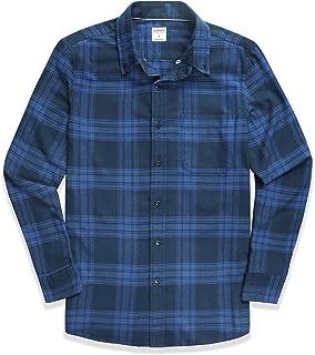Dubinik® Camisa de franela a cuadros para hombre, ajuste normal, manga larga, para el tiempo libre azul oscuro XXL