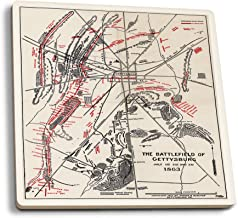 Lantern Press Battle of Gettysburg - Civil War - (1912) - Panoramic Map (Set of 4 Ceramic Coasters - Cork-Backed, Absorbent)