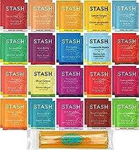 Stash Herbal & Decaf Tea Sampler - 40 Tea Bag, 20 Flavor Assortment - With By The Cup Honey Sticks
