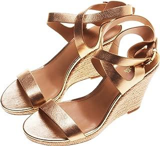 Michael Kors Women's Kaylee Wedge Metallic Leather Sandal; Pale Gold (9M)