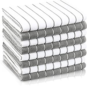 DLMAT Microfiber Kitchen Towels Set of 8 - Gray & White Dish Towels for Kitchen - Fiber Washcloth - Micro Lint Free Dish Drying Rags - Reusable and Absorbent Fabric - Cloth for Cleaning Counters