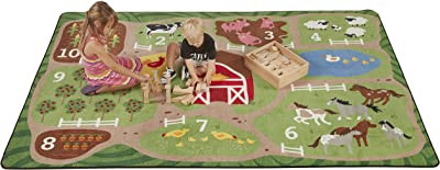 ECR4Kids Count The Farm Educational Activity Rug for Children, Antimicrobial Kids' Educational Carpet for School/Classroom/Home, Made in The USA, 6 x 9 Foot Rectangle - Assorted Colors