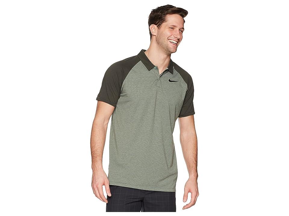 Nike Golf Dry Polo Raglan (Clay Green/Sequoia/Heather/Black) Men