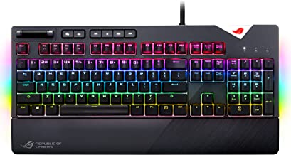 Asus ROG Strix Flare (CMB) Aura Sync RGB Mechanical Gaming Keyboard with (Cherry MX Blue) Switches, Customizable Badge, USB Pass Through and Media Controls