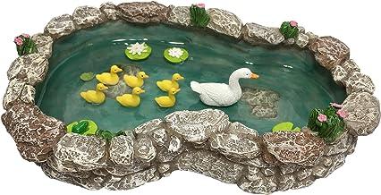 GlitZGlam Estanque de Patos - Pata Madre y Patitos. Un Estanque de Patos para Jardín de Hadas en Miniatura y Accesorios para Jardines en Miniatura de