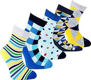 Kids 5-pair Fun Cool Cotton Colorful Dress Crew Socks Gift Box