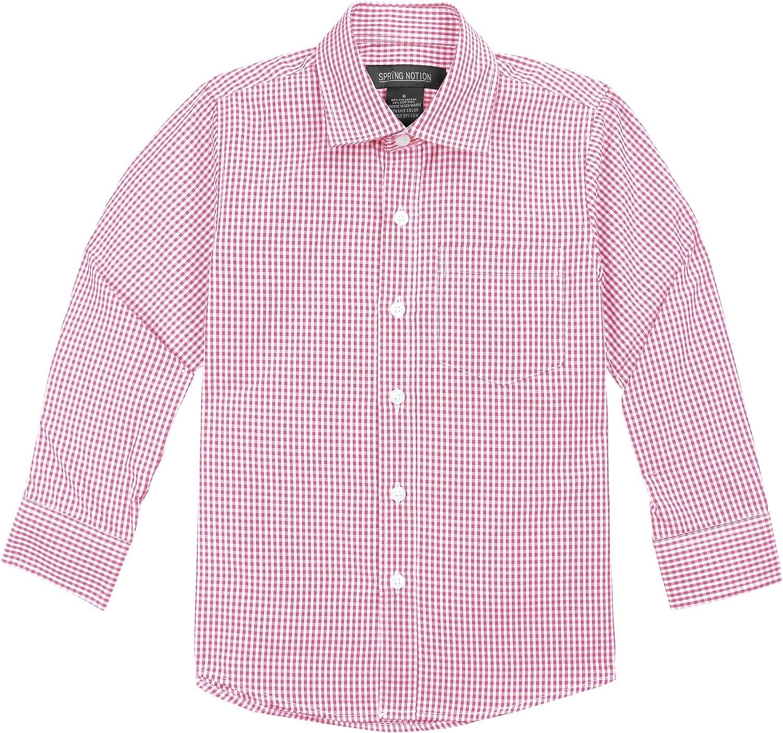 Spring Notion Big Boys' Long Sleeve Gingham Shirt